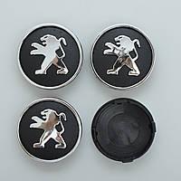 "Колпачки на титаны ""Peugeot"" (60/55мм) черн/хром. пластик объемный логотип (4шт)"