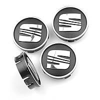 "Колпачки на титаны ""Seat"" (60/55мм) черн/хром. пластик объемный логотип (4шт), фото 1"