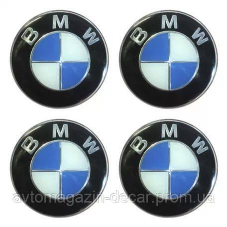 Наклейка на колпаки BMW (60мм) черная  (4шт)