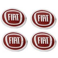 Наклейка на колпаки FIAT (60мм) красная  (4шт)