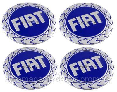 Наклейка на колпаки FIAT (60мм) синяя  (4шт)