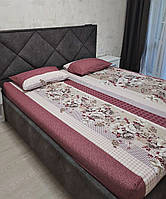 Комплект з простирадлом на резинці на матрац 180*200 см Туреччина Лілія бордо, фото 1