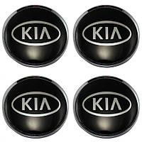 Наклейка на колпаки KIA (60мм) черная  (4шт)