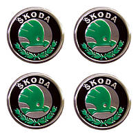 Наклейка на колпаки SKODA (60мм) Зеленая  (4шт)