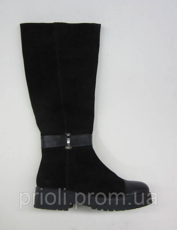 Распродажа 37 размер Зимние женские сапоги на низком ходу замша