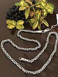 Цепь из серебра 925 пробы с чернением уникального плетения фокс, Fox (лисий хвост), фото 7
