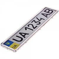 """Рамка номера+сетка (1шт) нержавейка  """"Milex"""" RT-25353   (40шт/ящ)"""