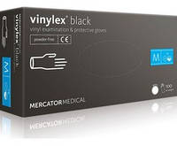Перчатки виниловые Vinylex Black M нестерильные неопудренные (50 пар/уп), фото 1