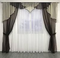 Шторы шифоновые для спальни дома зала, готовые шторы в комнату зал кухню прихожую, шторы шифон для зала, фото 2