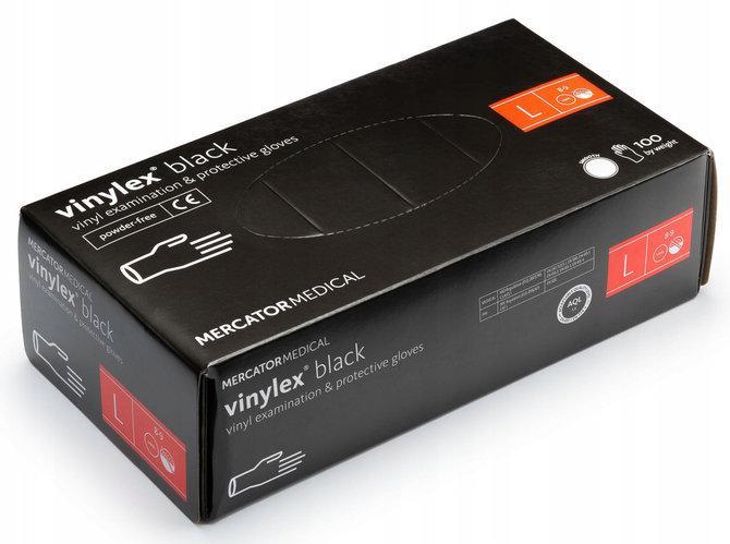Перчатки виниловые Vinylex Black L нестерильные неопудренные (50 пар/уп)