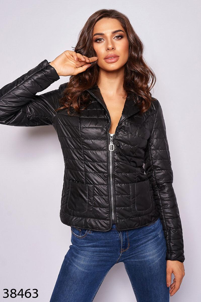 Модная укороченная куртка на молнии из плащевки с силиконом с 42 по 46 размер - SvitStyle