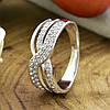 Кольцо Xuping 14692 размер 18 ширина 8 мм вес 2.5 г белые фианиты позолота Белое золото, фото 3