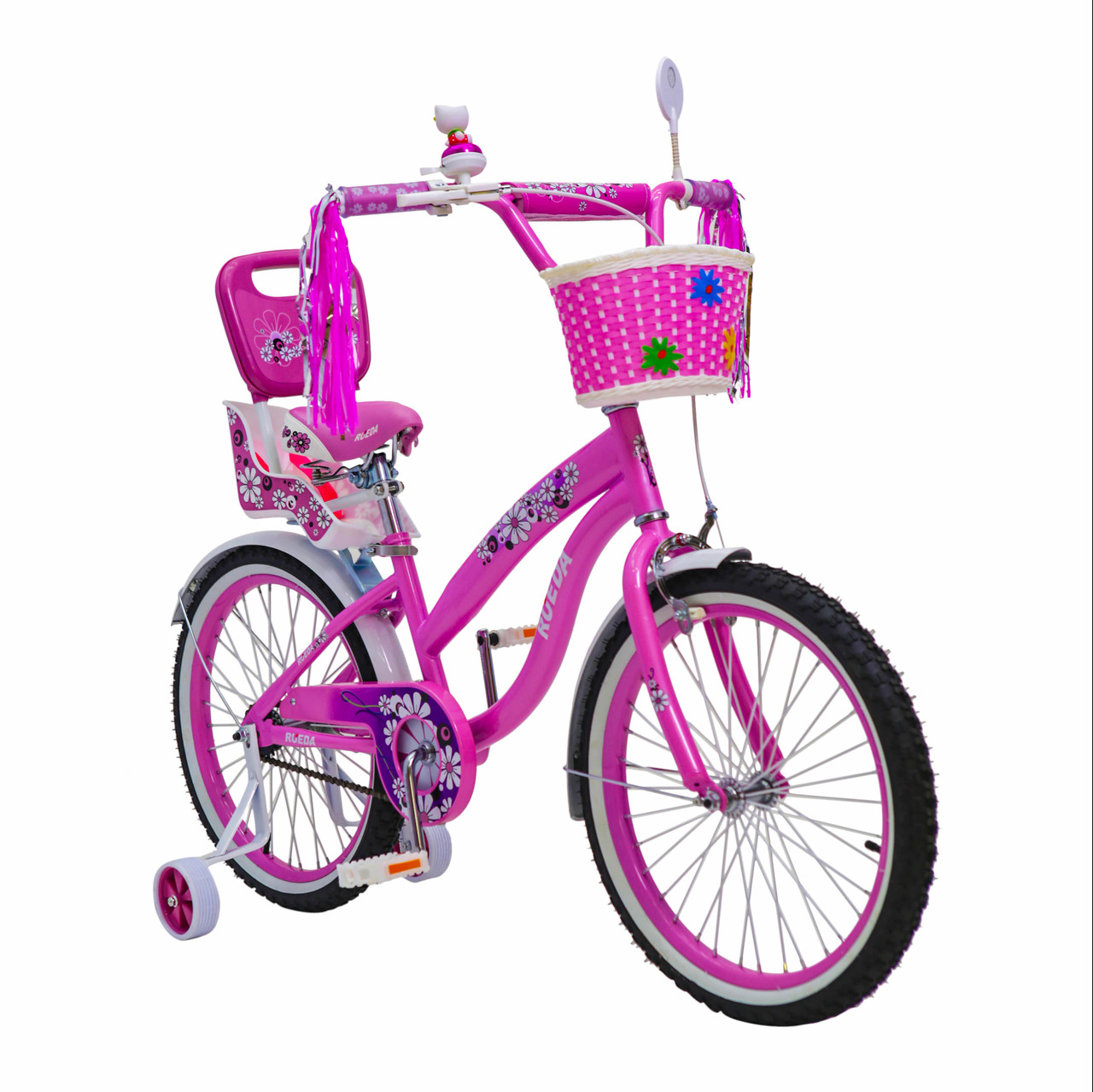 Іспанська дитячий рожевий велосипед з кошиком RUEDA 20 дюймів (Квіточка) від 10 років