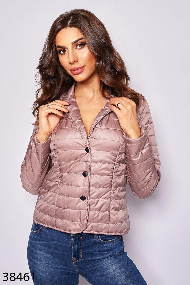 Стильная укороченная куртка с длинными рукавами и отложным воротником с 42 по 46 размер - SvitStyle