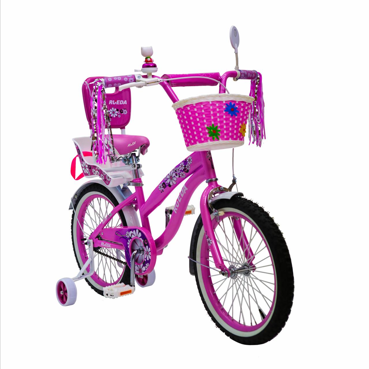 Іспанська дитячий рожевий велосипед для дівчинки з кошиком RUEDA 18 дюймів (Квіточка) на 5-8 років