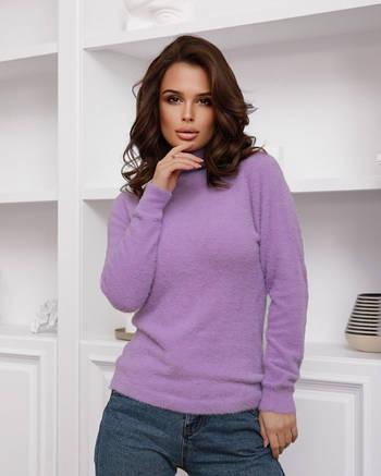 Сиреневый теплый женский свитер-травка с высоким горлом