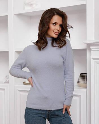 Голубой теплый женский свитер-травка с высоким горлом