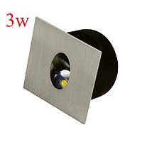Світильник сходовий LED 3W Horoz ZUMRUT світлодіодний матовий хром квадрат