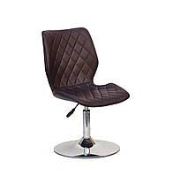 Коричневое кресло на блине из эко кожи Nolan CH-Base в кафе, офис, гостиную, салоны красоты