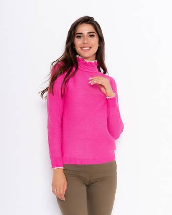 Ангоровый свитер женский малинового цвета с кружевной вставкой на воротнике