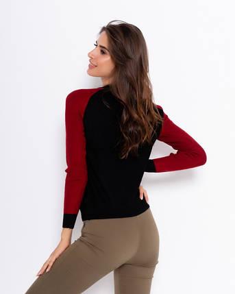 Черно-бордовый свитер женский с подвеской, фото 2