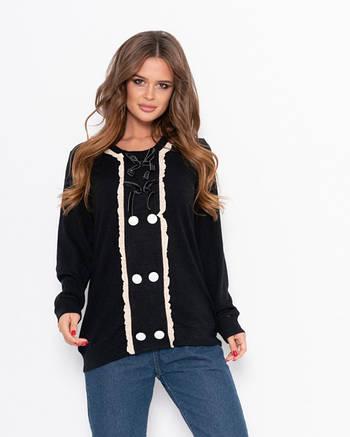 Черный ангоровый свитер женский с широкой планкой