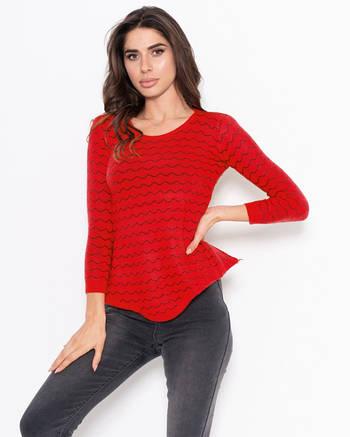 Красный асимметричный свитер женский с волнистым декором
