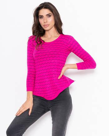 Малиновый асимметричный свитер женский с волнистым декором