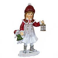 """Новогодняя статуэтка """"Девочка с мишкой"""" 18,5х11 см (полистоун)"""