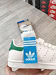 Женские демисезонные кроссовки Adidas Stan Smith (бело-зеленые) D33, фото 8