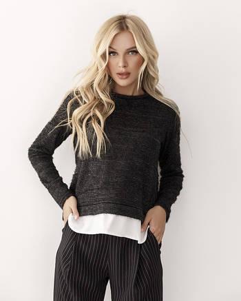 Черный комбинированный свитер женский с белой вставкой