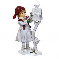 """Новогодняя статуэтка """"Девочка кормит птиц"""" 19,5х12 см (полистоун), фото 1"""