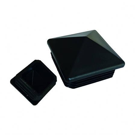 Заглушка пластиковая, квадратная, внутренняя, пирамидальная для трубы 50x50 черная, 50 штук/упаковка., фото 2