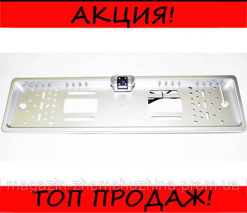 Камера заднего вида рамка 16LED Silver с подсветкой номера, фото 2