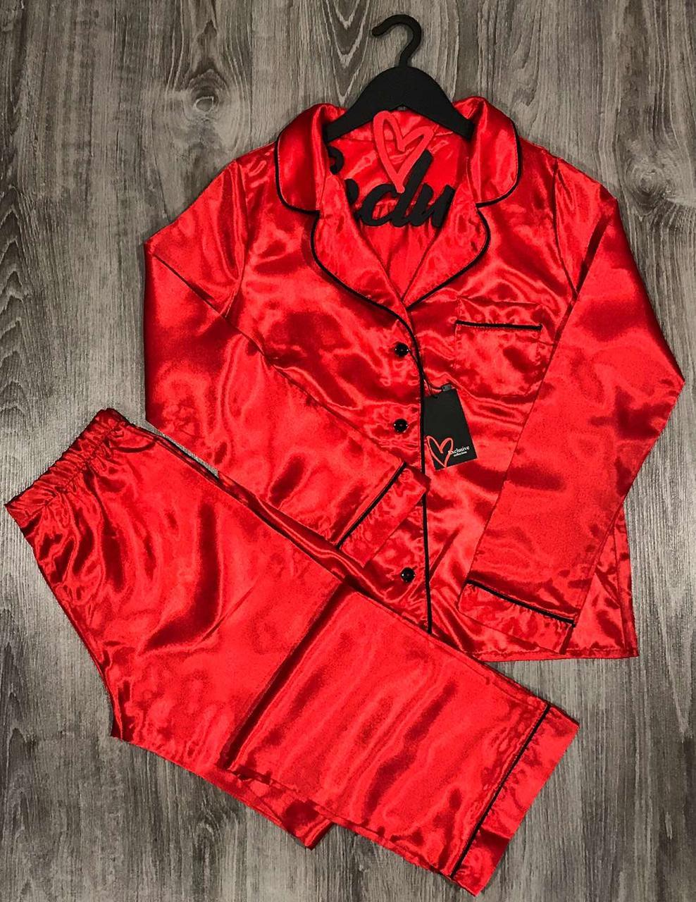 Червона атласна піжама жіноча штани і сорочка