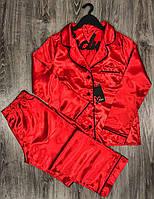 Червона атласна піжама жіноча штани і сорочка, фото 1