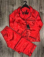 Красная атласная пижама женская штаны и рубашка, фото 1
