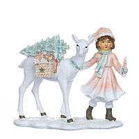 """Новогодняя статуэтка """"Девочка с оленем"""" 13х12 см (полистоун), фото 1"""