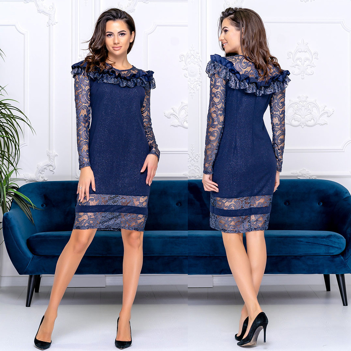 """Коктейльное, вечернее платье с гипюром новогоднее, нарядное """"ROMANCE"""""""