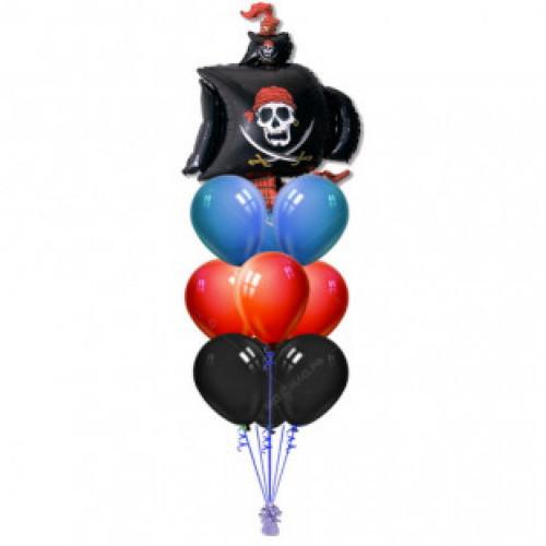 """Композиція з гелієвих кулькок на замовлення """"Піратський корабель"""""""