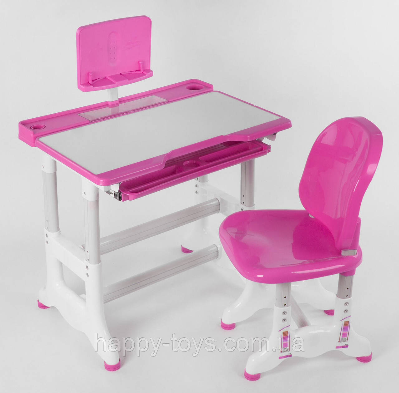 Школьная парта Розовая для девочки со стульчиком с регулировкой высоты, парта школьная для дома J 55701