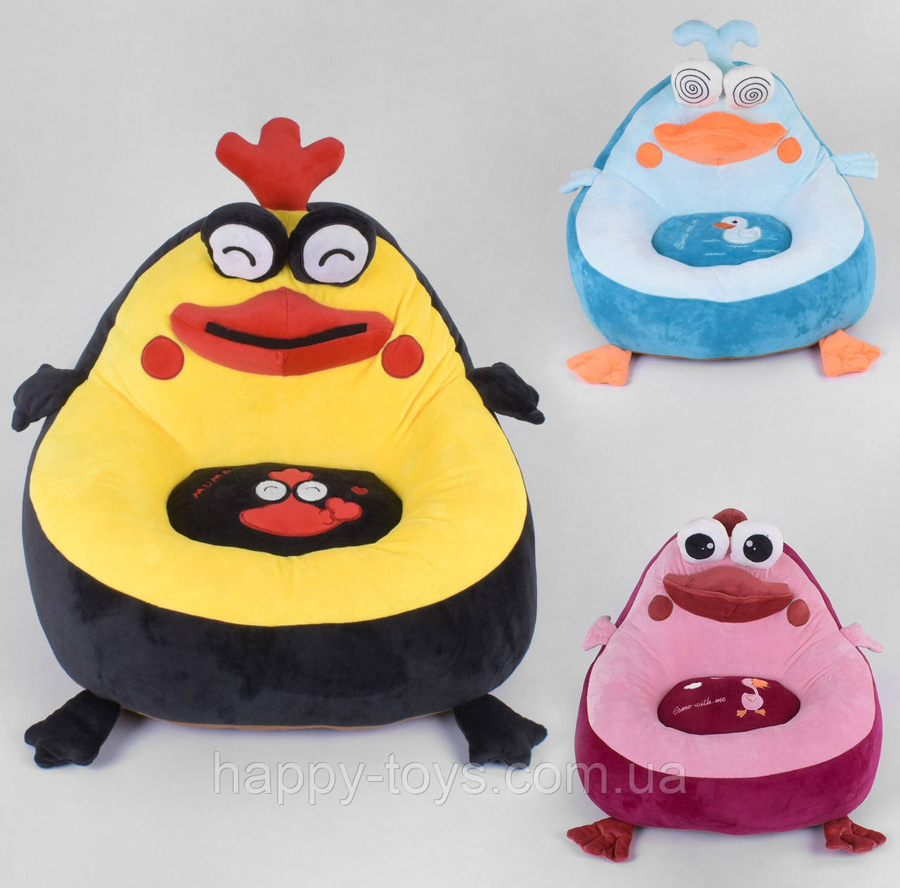 Кресло мягкое мягкое игрушка Птички 3 вида, 55х41х45 см C 44365