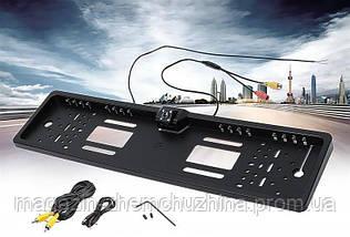 Камера заднего вида рамка 16LED Black с подсветкой номера, фото 2