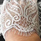 Ажурное французское кружево шантильи (с ресничками) белого цвета шириной 12 см, длина купона 2.8 м., фото 2