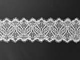Ажурное французское кружево шантильи (с ресничками) белого цвета шириной 12 см, длина купона 2.8 м., фото 4