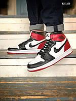 Мужские кроссовки Nike Air Jordan 1 Retro High OG (черно/бело/красные) KS 1359