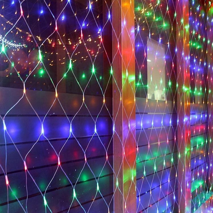 Гирлянда штора сетка цветная 1,5 х 1,5 метра 32621