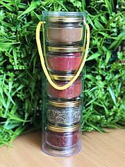 Подарочный набор специй в тубусе : томаты дробленые, для курицы, базилик, корица, перец чили молотый