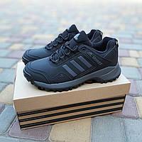 Мужские зимние кроссовки Adidas Terrex (черно-серые) Термо 3515