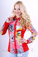 Женская рубашка прямого кроя из эко-замши Lipar Красная